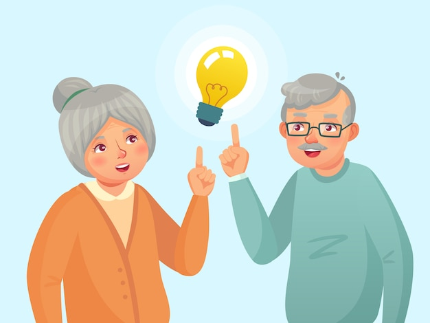 Seniors idea. old people couple have idea, elderly senior thinking issue. grandfather and grandmother cartoon  illustration