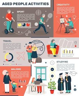 Пожилые люди остаются активной инфографики Бесплатные векторы