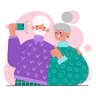 テクノロジーフラットデザインを使用している高齢者