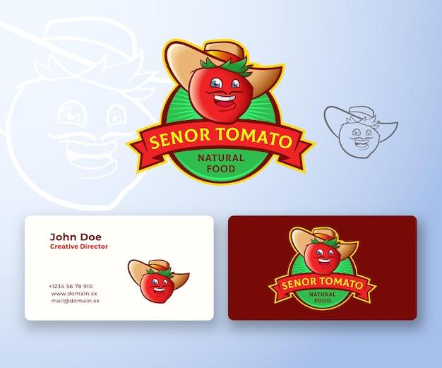 セニョールトマトの抽象的なロゴと名刺のテンプレート。プレミアムステーショナリーリアリスティック。 Premiumベクター