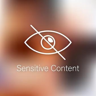 Деликатный фотоконтент. неприемлемый контент. концепция интернет-безопасности. знак внимания. векторная иллюстрация штока. . векторная иллюстрация