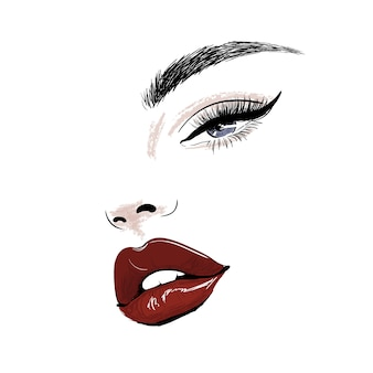Sensual face with red juicy lips and eye art