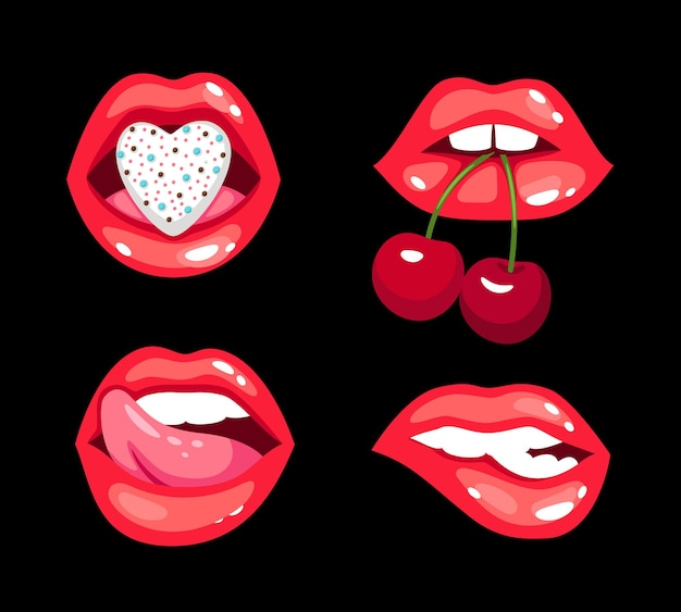 官能的なキスセット。チェリーとハート、魅力的な官能的な女性の唇、黒い背景で隔離のロマンチックなキスのベクトルイラストコンセプトと漫画の光沢のあるセクシーな笑顔