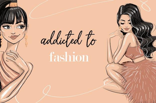 ファッションテンプレートイラストにハマる官能的な女性