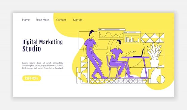 デジタルマーケティングスタジオのランディングページシルエットテンプレート。 seo分析ホームページのレイアウト。アウトライン文字を使用したオンライン広告1ページのwebサイトインターフェイス。ウェブバナー、ウェブページ