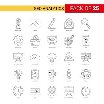 Seoの分析ブラックラインのアイコン -  25ビジネス概要のアイコンセット