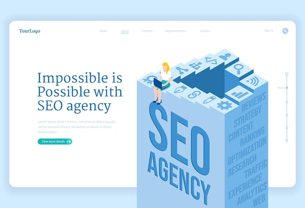 Seo agency service isometric landing page