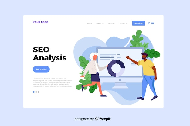 Seo analysis concept for landing page