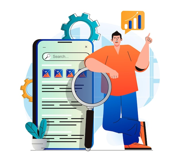 Seo analysis concept in modern flat design man analyzes search results and site rankings develops