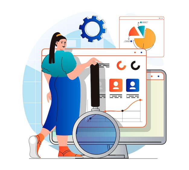 Seo analysis concept in modern flat design woman analyzes data and search results settings