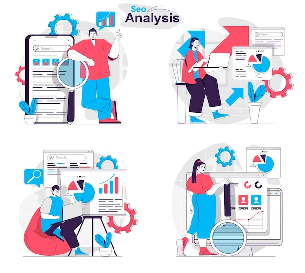 Seo analysis concept set analysts research statistics keywords optimize search