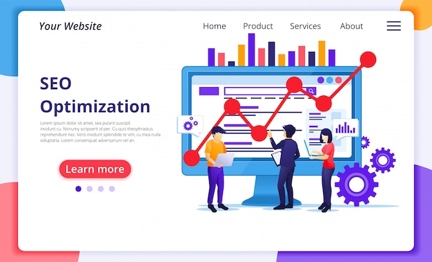 Seo analysis concept with people work on screen. search engine optimization, marketing and strategies. website landing page  template