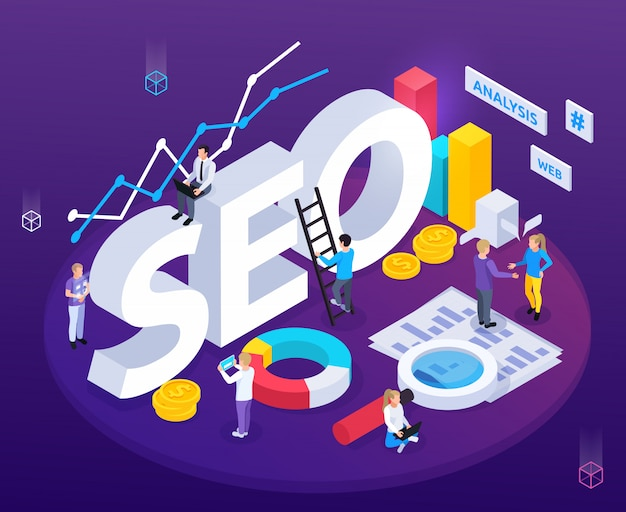 Seo analysis isometric composition with web optimization symbols