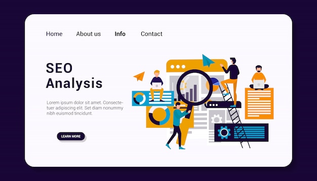 비즈니스 인간 그룹 개념, 평면 디자인으로 seo 분석 방문 페이지 템플릿.