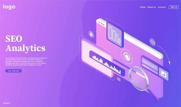 Seo analytics banner research and analytics of search engine optimization of content search engines optimization landing page template landing page for website web development optimization