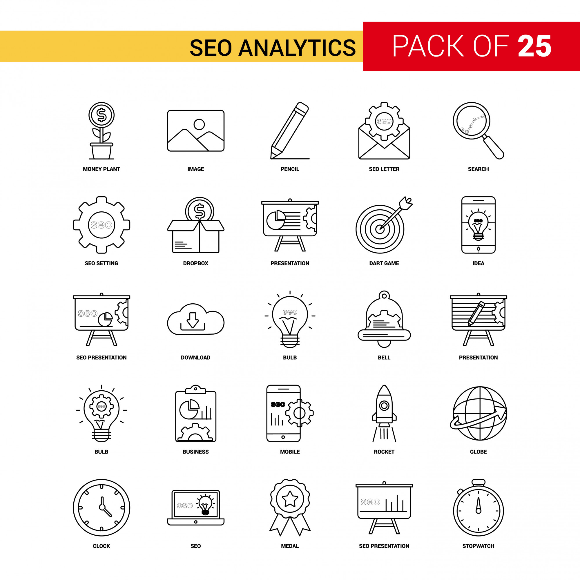 SEO Analytics Black Line Icon - 25 Business Outline Icon Set