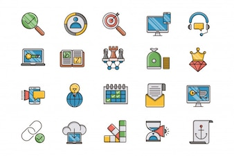 Seo and web optimization filled outline icons set