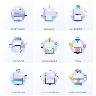 Seo business flat illustrations pack