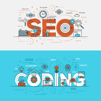 Seo and coding lettering. flat design line concept with elements
