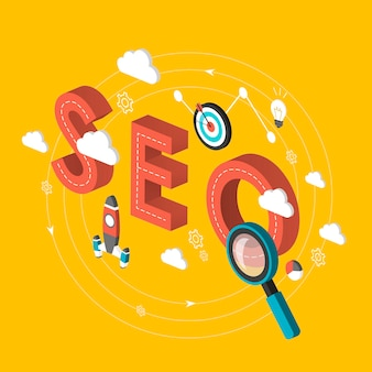 Seo concept 3d isometric infographic over yellow background