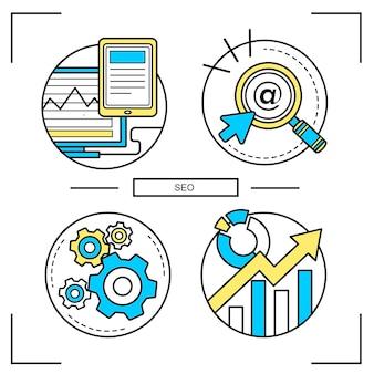 Набор графических концепций seo в стиле линии