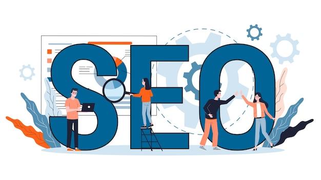Seoの概念。マーケティング戦略としてのウェブサイトの検索エンジン最適化のアイデア。インターネットでのwebページのプロモーション。漫画のスタイルのイラスト