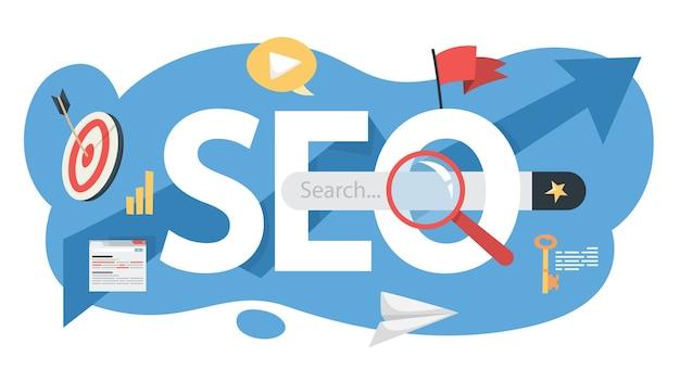 Концепция seo. идея поисковой оптимизации сайта как маркетинговая стратегия. продвижение страниц в сети. иллюстрация