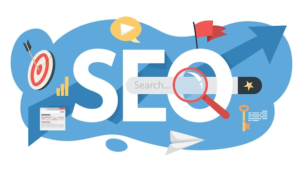 Seo concept. idea of search engine optimization for website as marketing strategy. web page promotion in the internet.    illustration