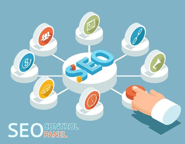 Seoコントロールパネルのコンセプト。 seoのコントロールパネルのボタンを手で押します。
