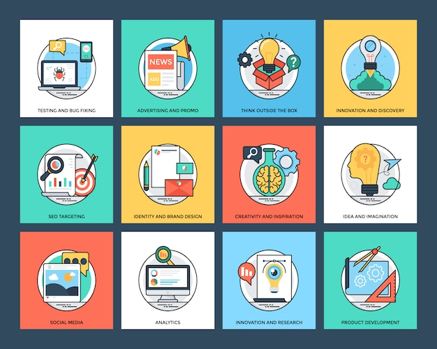 Seo and development flat icons collection
