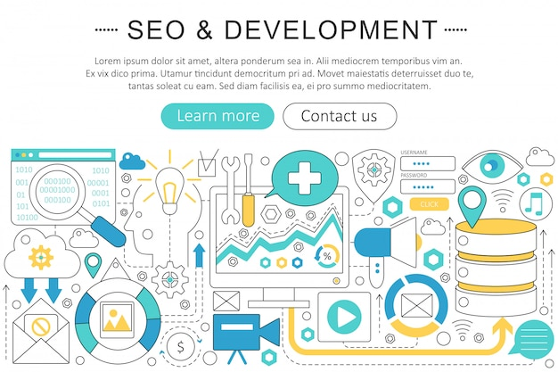 Seo and development flat line concept