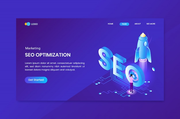 Seo & digital marketing isometric concept landing page