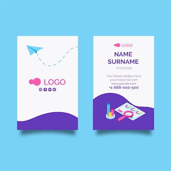 Seo double-sided vertical business card template