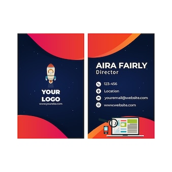 Seo double sided vertical business card template