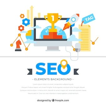 Seo elements background in flat style