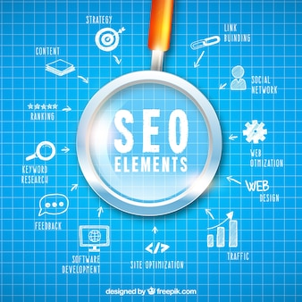 Seo elements background in hand drawn style