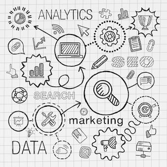 Seo 손 그리기 통합 아이콘을 설정합니다. 종이에 선 연결 낙서 해치 무늬와 infographic 그림을 스케치합니다. 마케팅, 네트워크, 분석, 기술, 최적화, 서비스 개념