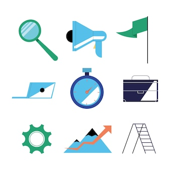Seo icon collection design, digital marketing ecommerce and online theme illustration