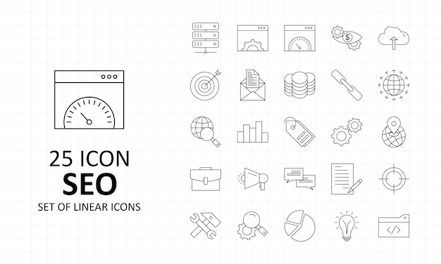 Seo icon sheet pixel perfect icons
