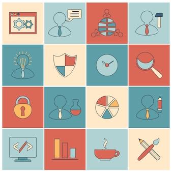 Seo icons set outline