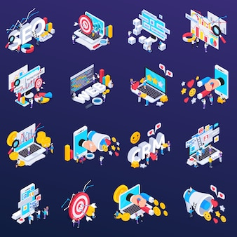 Seo icons set with content and analysis symbols isometric isolated