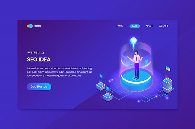 Seo idea marketing isometric concept landing page