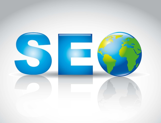 Seo illustration with planet over gray background vector