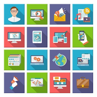 Seo 인터넷 마케팅 플랫 아이콘