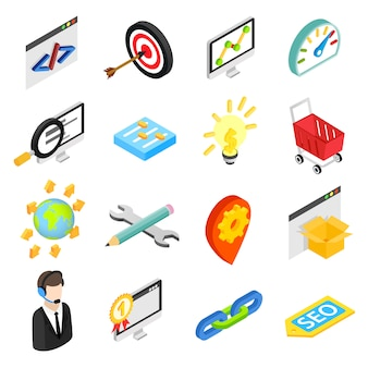 Seo isometric 3d icons set