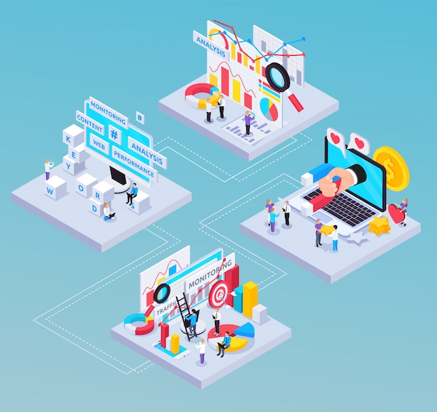 Seo isometric composition with content and analysis symbols
