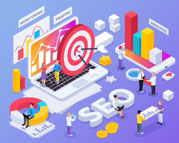 Seo isometric concept with monitoring and traffic symbols isolated