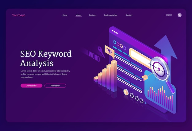 Seo keyword analysis landing page template