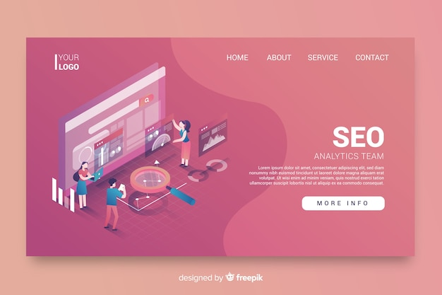 Seo landing page isometric design