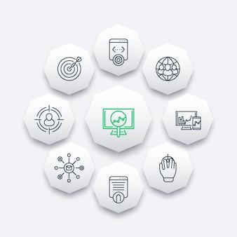 Seo line значки, поисковая оптимизация, интернет-маркетинг, индексирование веб-страницы восьмиугольника значки, иллюстрация